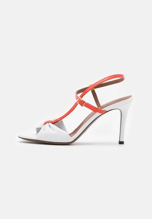 Sandals - white/coral/ochre/yellow