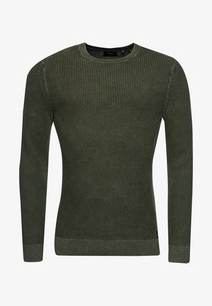 ACADEMY DYED TEXTURE - Pullover - washed dark olive green
