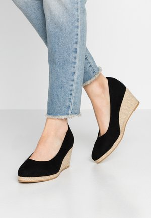 WIDE FIT FYDE HESSIAN WEDGE SHOE - Escarpins compensés - black