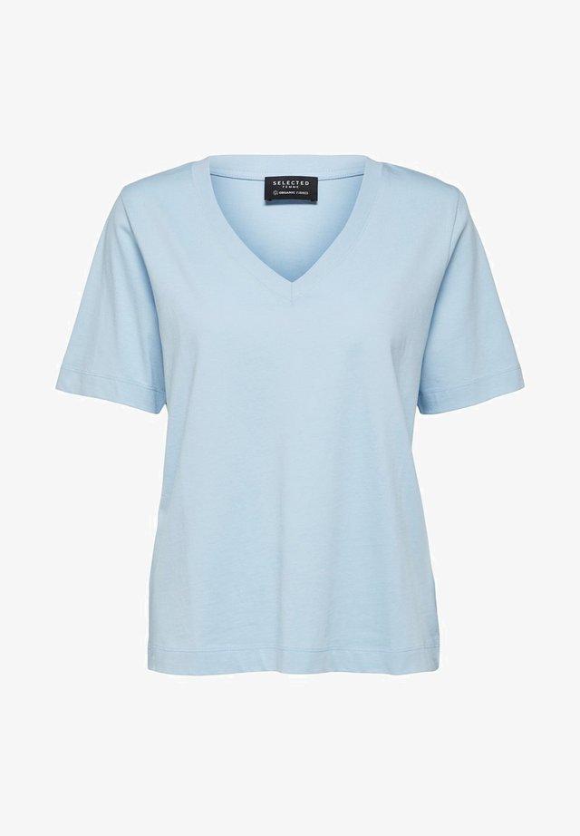 SLFSTANDARD  V NECK TEE  - T-shirt basic - cashmere blue
