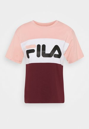 ALLISON - T-shirt imprimé - tawny port/coral cloud/bright white