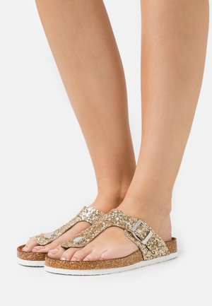 ONLMATHILDA METALLIC TOE SPLIT - T-bar sandals - gold