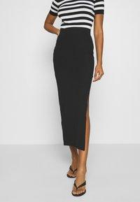 Even&Odd - BASIC - Bodycon maxi skirt - Pouzdrová sukně - black - 0