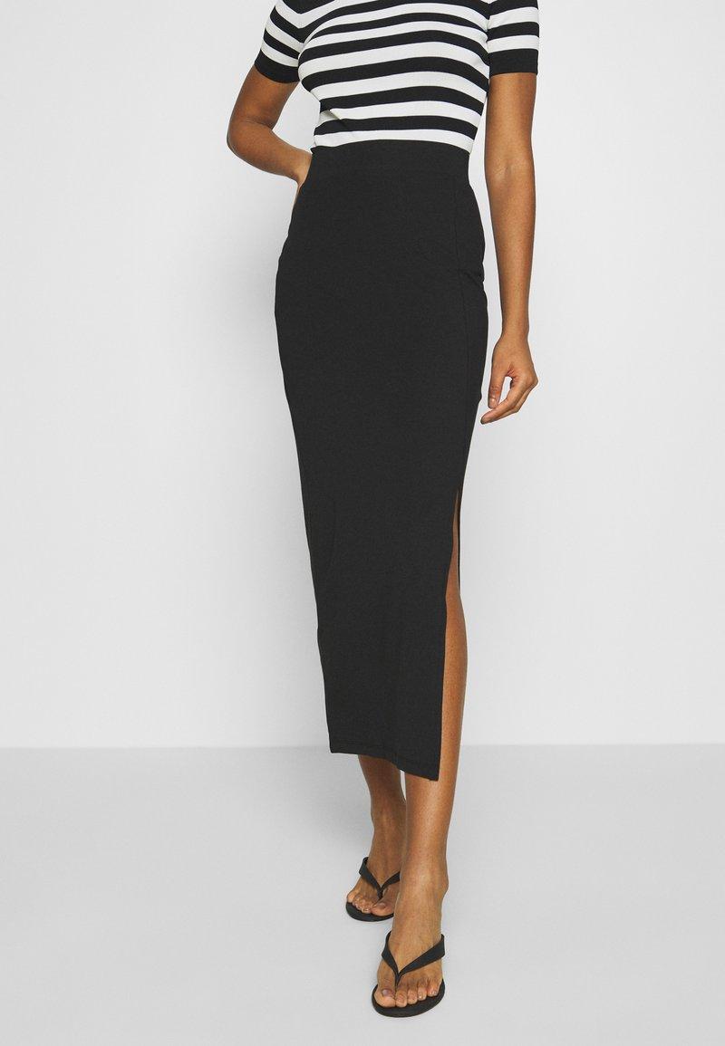 Even&Odd - BASIC - Bodycon maxi skirt - Pouzdrová sukně - black