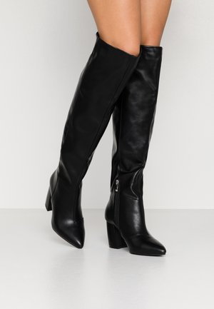 WIDE FIT TERRY - Over-the-knee boots - black