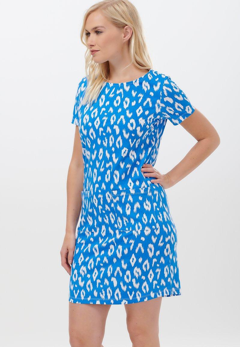 Sugarhill Brighton - ARIANE IKAT LEOPARD - Jersey dress - blue