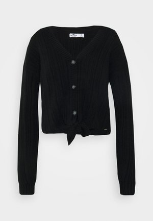 BUTTON THRU TIE FRONT - Cardigan - black