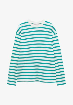 Long sleeved top - green/ white