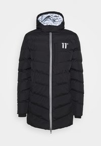 11 DEGREES - LONG LINE CHEVRON PUFFER - Winter coat - black - 3
