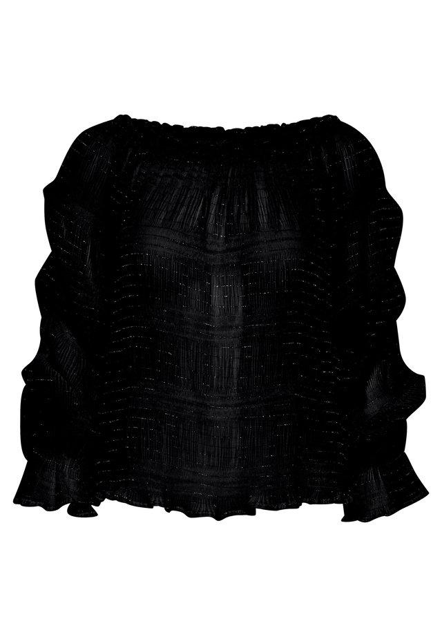 PLISSÉ W. SILVER STRIPE - Blouse - black