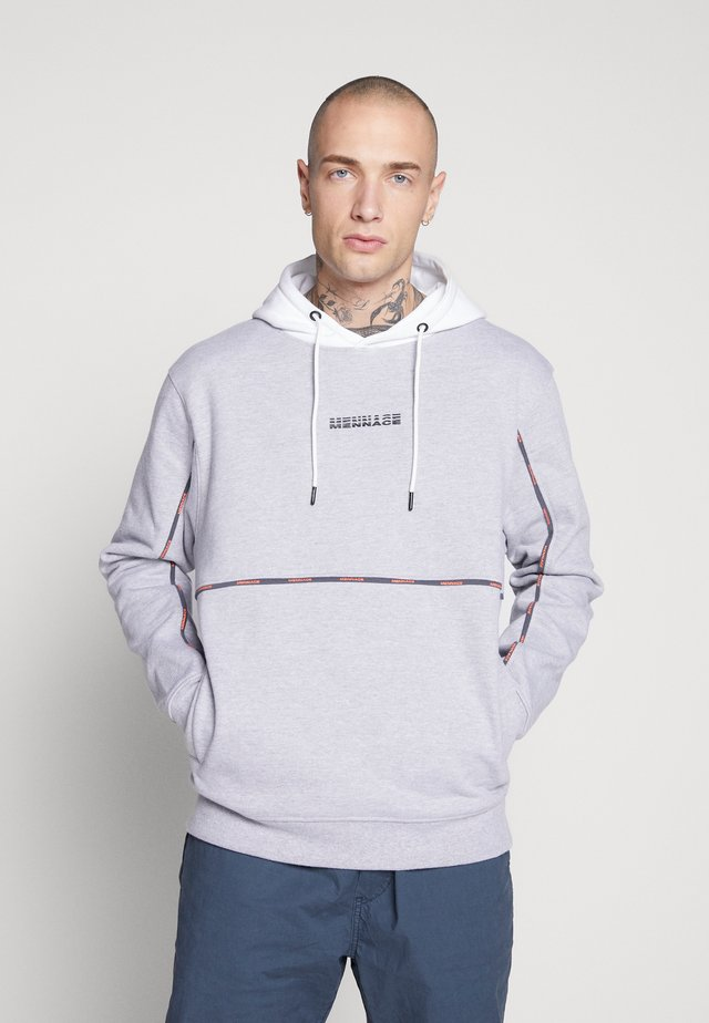 UNISEX BRANDED PIPING HOODIE - Huppari - grey marl