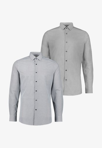 SLIM FIT PLAIN AND PRINT SHIRTS 2 PACK - Košile - grey