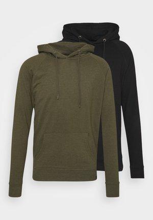 BASIC HOODIE 2 PACK - Sweatshirt - olive night melange/ black