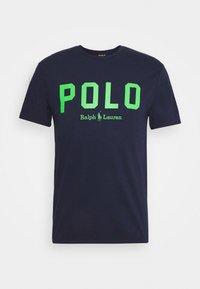 Triko spotiskem - french navy/neon green