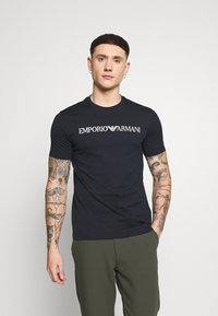 Emporio Armani - Print T-shirt - dark blue/white - 0