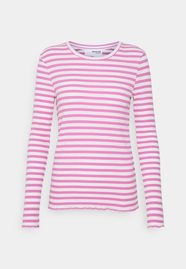 SLFANNA CREW NECK TEE - Langærmede T-shirts - opera mauve/snow white