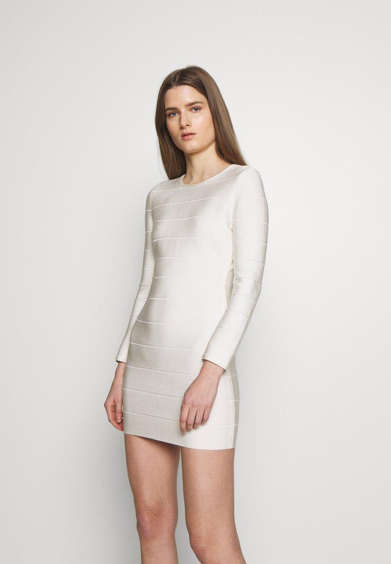 Hervé Léger - ICON LONG SLEEVE DRESS - Shift dress - alabaster