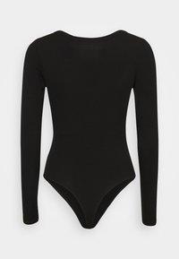 American Eagle - HENLEY BODYSUIT - Long sleeved top - true black - 1