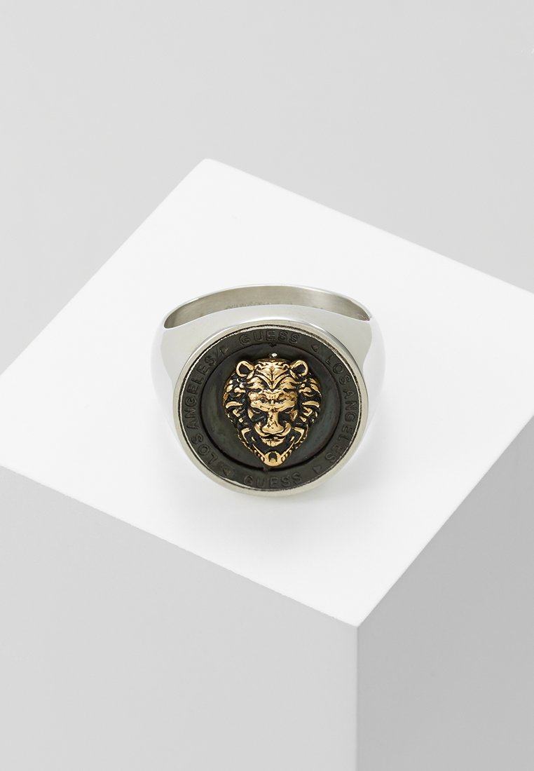 Guess - LION HEAD COIN - Ring - silver-coloured/gold-coloured