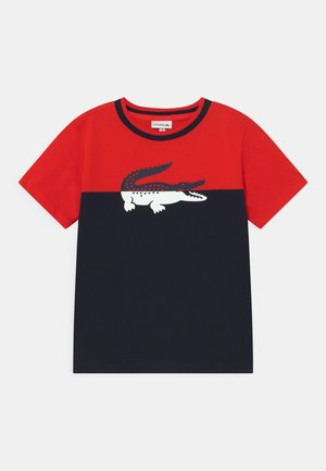 LOGO BLOCK  - Print T-shirt - redcurrant bush/navy blue