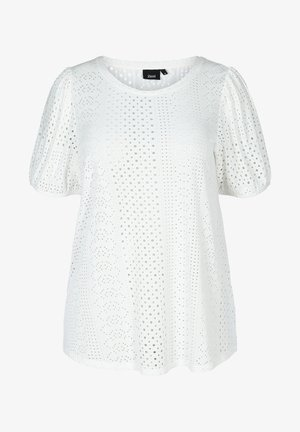 WITH BRODERIE ANGLAISE - Print T-shirt - off-white