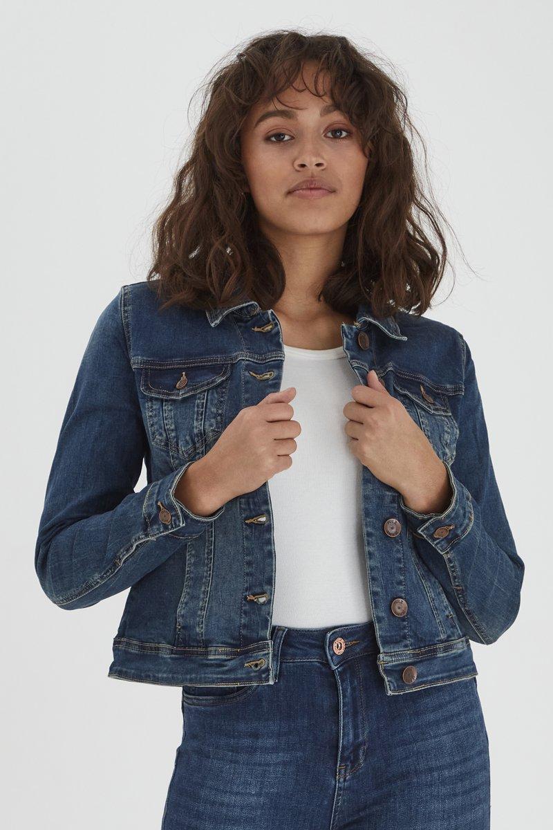 PULZ - Denim jacket - blue denim