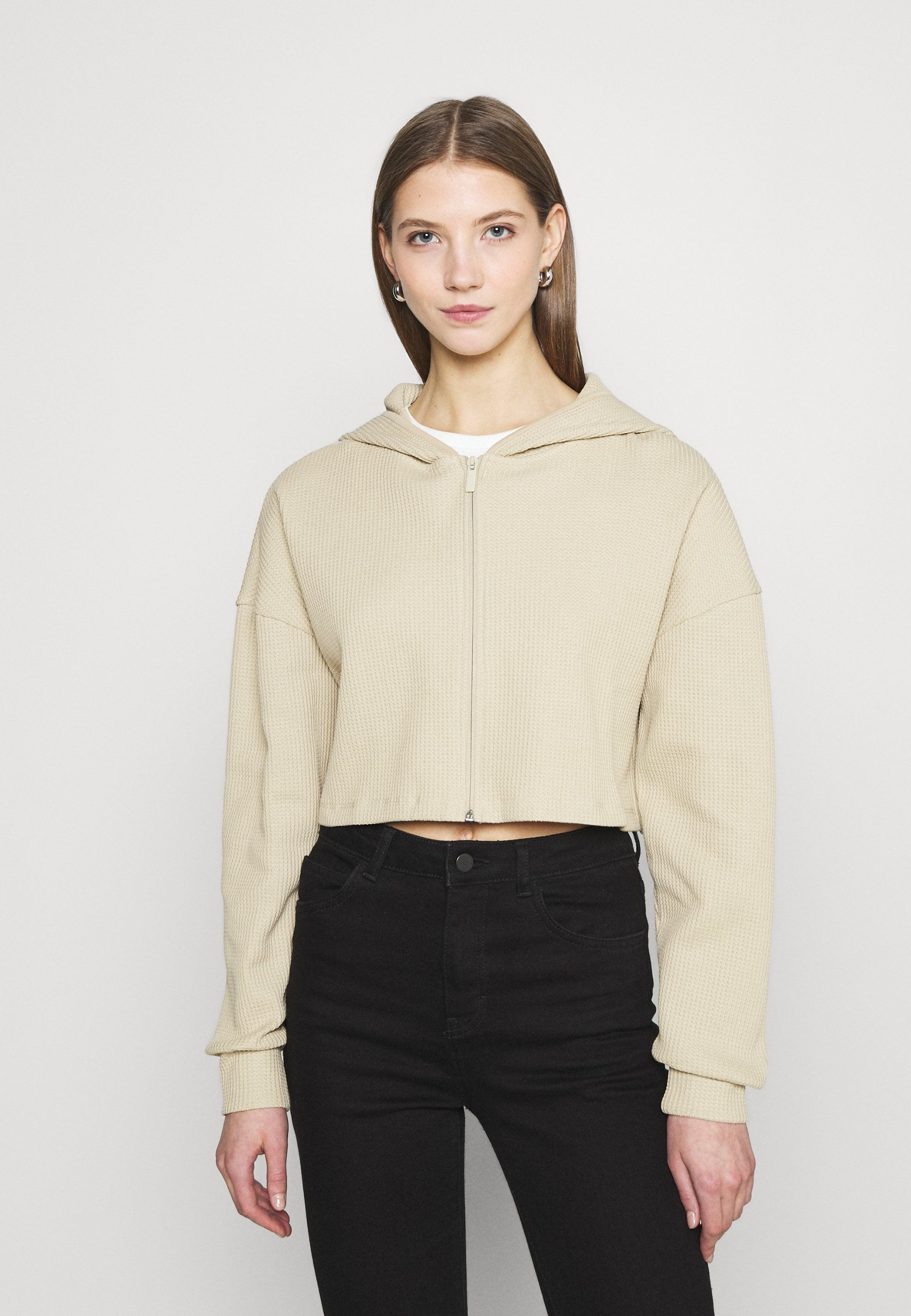 Women CROPPED WAFFLE HOODIE - Zip-up sweatshirt