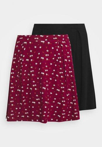 2 PACK - A-line skirt - black/bordeaux