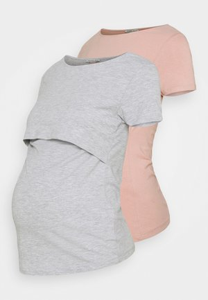2 PACK - T-shirts basic - light grey/light pink