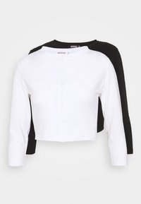 Missguided - BUTTON FRONT LONG SLEEVE CROP 2 PACK - Topper langermet - black white - 4