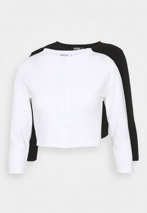 BUTTON FRONT LONG SLEEVE CROP 2 PACK - Longsleeve - black white