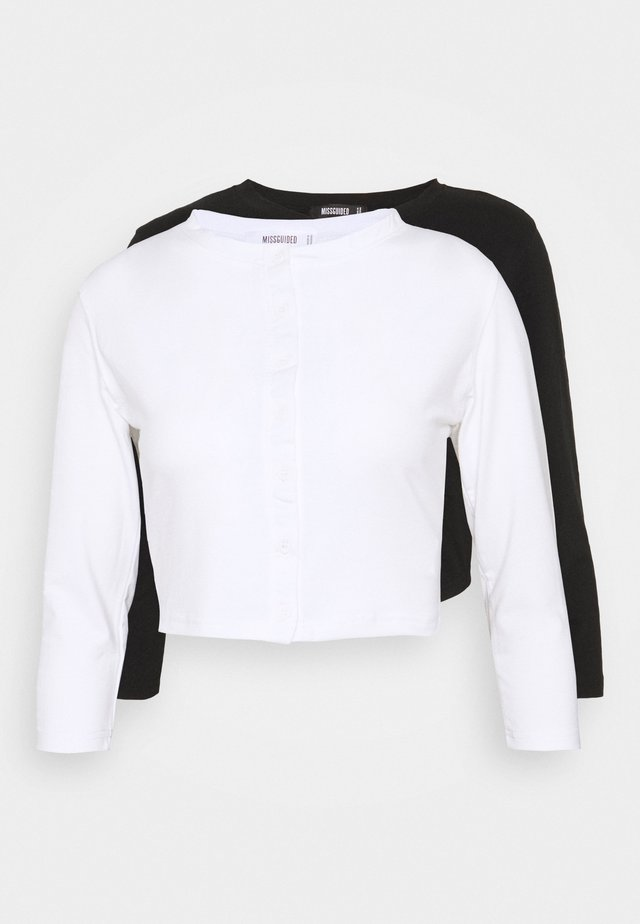 BUTTON FRONT LONG SLEEVE CROP 2 PACK - Pitkähihainen paita - black white
