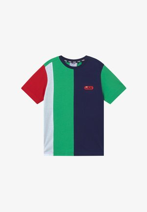BILL BLOCKED TEE - Print T-shirt - black iris/true red/ginko green/bright white