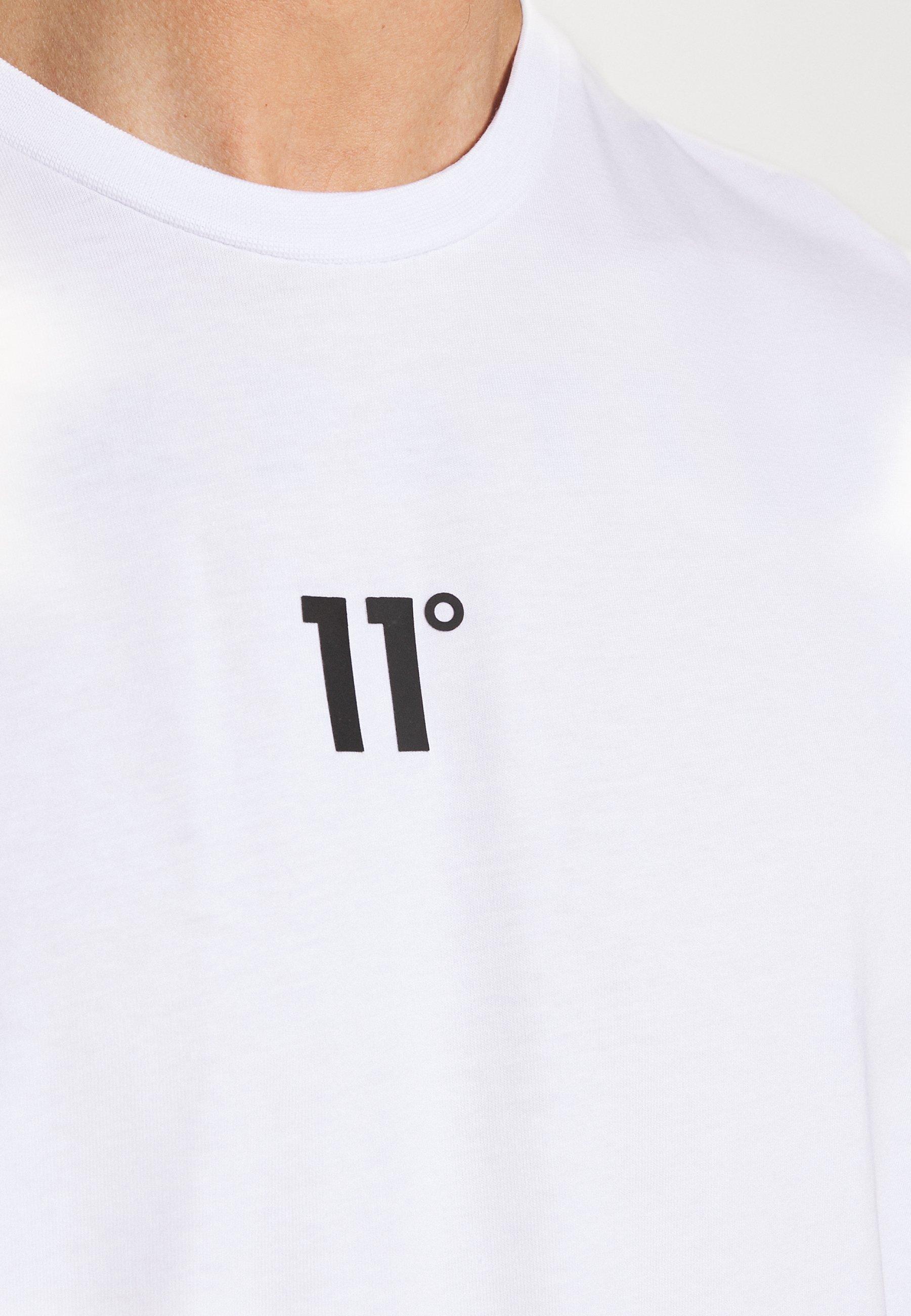 11 DEGREES BOX GRAPHIC BACK - T-shirt z nadrukiem - white/black - Odzież męska Tani