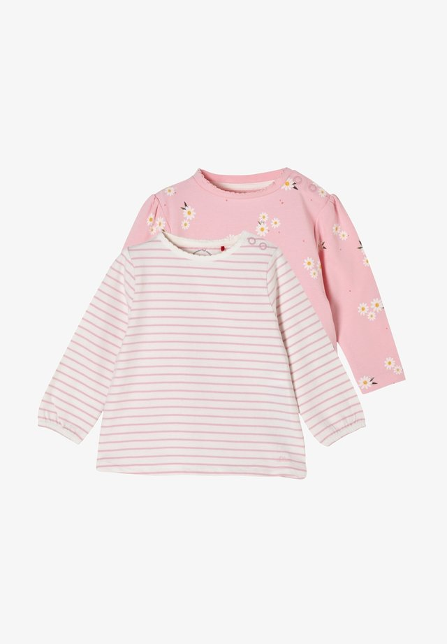 2ER PACK - Longsleeve - pink daisies/offwhite stripes