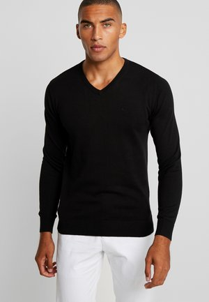 BASIC V NECK  - Strickpullover - black