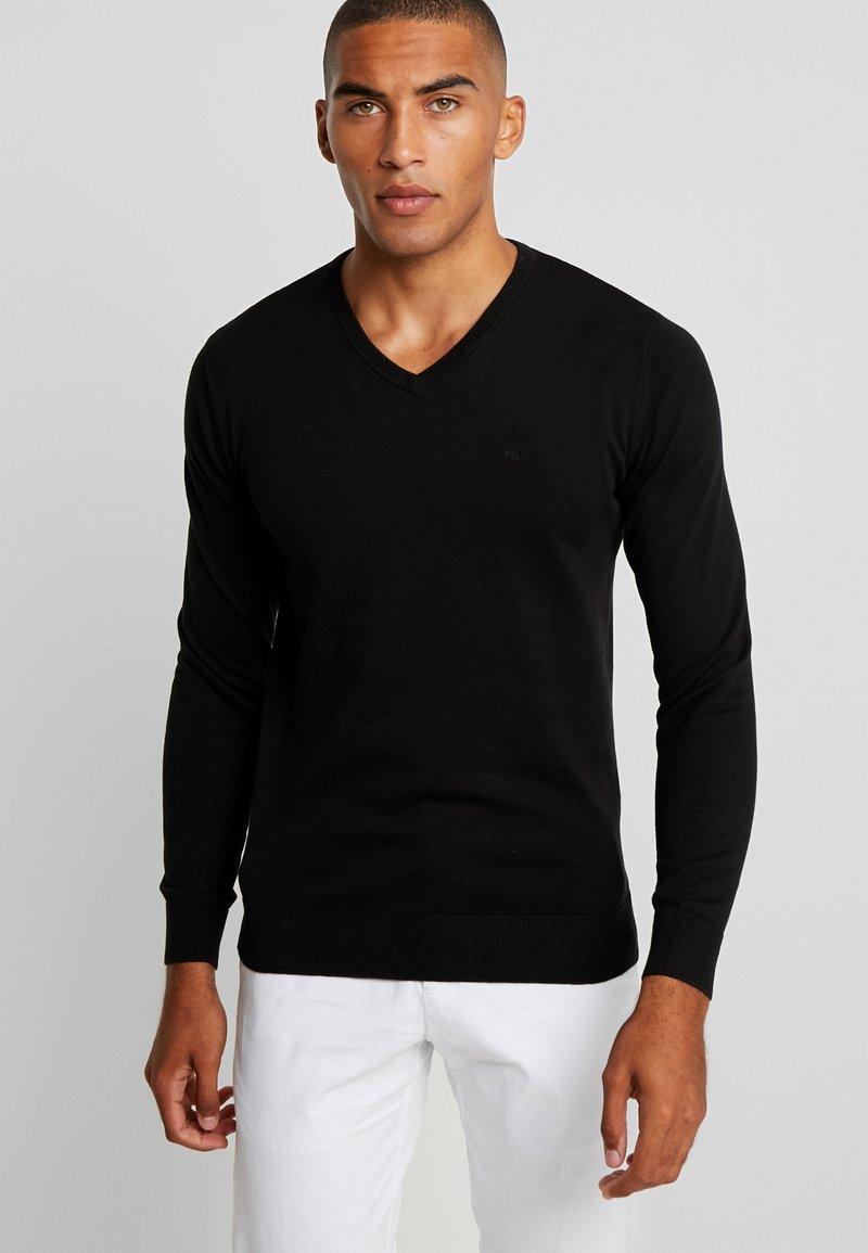TOM TAILOR - V NECK  - Pullover - black