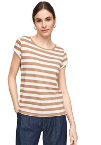 comma casual identity - MIT SCHMUCK-DETAIL - Print T-shirt - caramel stripes - 3