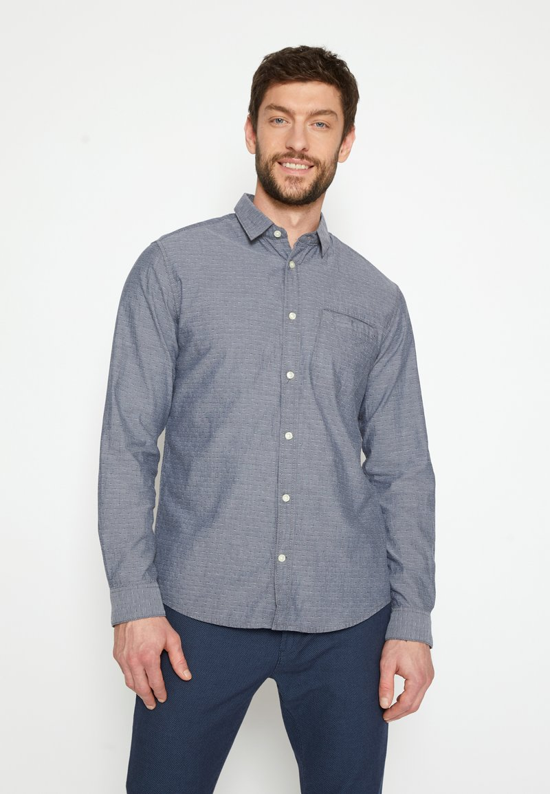 TOM TAILOR - REGULAR ORGANIC DOBBY - Shirt - navy chambray with white