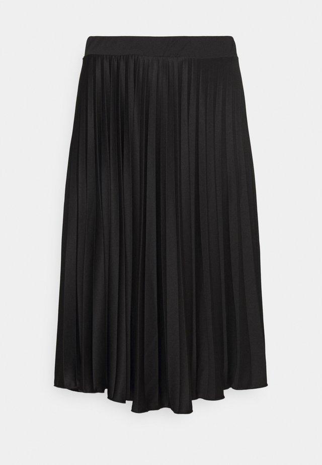 CURVE PLEAT MIDI SKIRT - Pleated skirt - black
