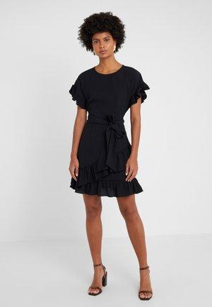 RUFFLE WRAP DRESS - Freizeitkleid - black