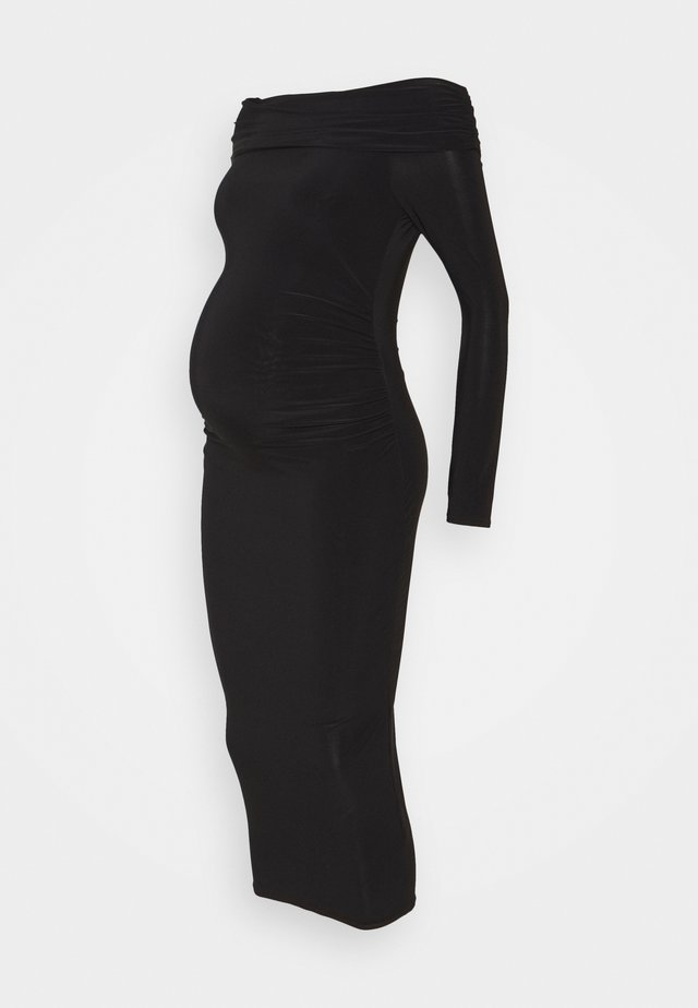 SLINKY BARDOT DRESS - Jersey dress - black
