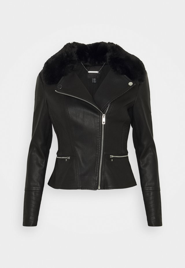 ESSA - Faux leather jacket - black