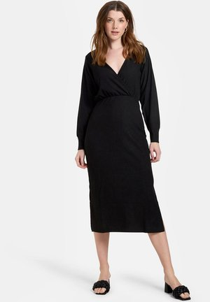 CRINKLE WRAP DRESS - Kotelomekko - black