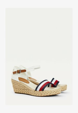 SHIMMERY RIBBON MID - Wedge sandals - ecru