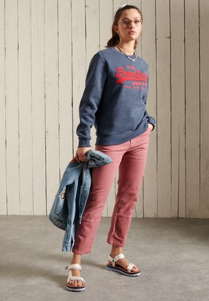 SUPERDRY VINTAGE LOGO CHENILLE - Sweatshirt - navy marl/dark grey