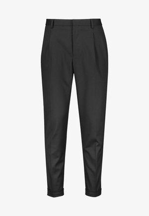 KHAKI FASHION PLEAT FIT TWIN PLEAT FORMAL TROUSERS - Pantalones - black