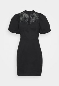 Glamorous - INSERT MINI DRESS WITH PUFF SHORT SLEEVES AND HIGH NECK - Vestido de cóctel - black - 5