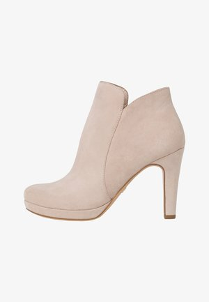 High heeled ankle boots - ivory