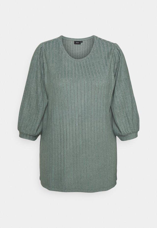 ELULLI BLOUSE - Sweter - balsam green melange
